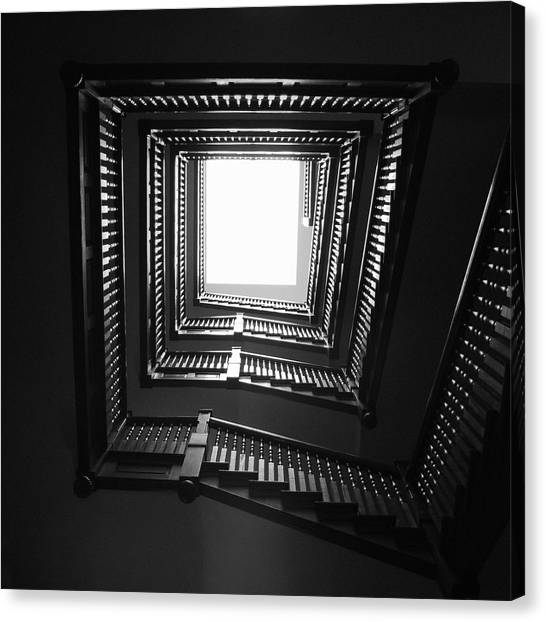 Spiral Canvas Print - Upstairs- Black And White Photography By Linda Woods by Linda Woods