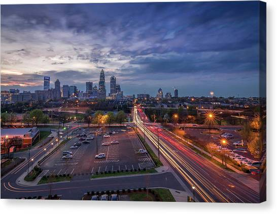 Uptown Charlotte Rush Hour Canvas Print
