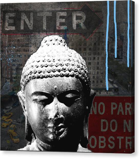 Buddhist Canvas Print - Urban Buddha 4- Art By Linda Woods by Linda Woods