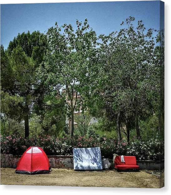 Madrid Canvas Print - Urban Camping #city #garden #park by Rafa Rivas
