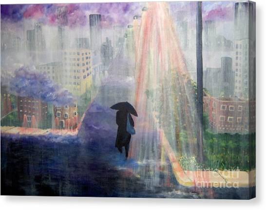 Canvas Print featuring the painting Urban Life by Saundra Johnson