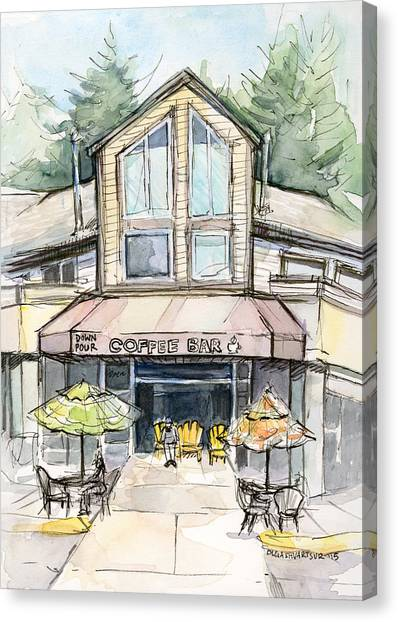 Coffee Shops Canvas Print - Coffee Shop Watercolor Sketch by Olga Shvartsur