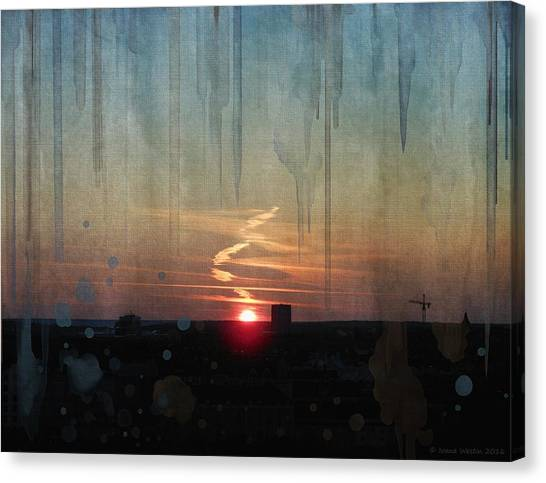 Canvas Print featuring the painting Urban Sunrise by Ivana Westin