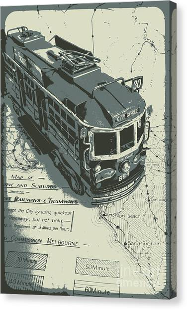 Traffic Canvas Print - Urban Trams And Old Maps by Jorgo Photography - Wall Art Gallery