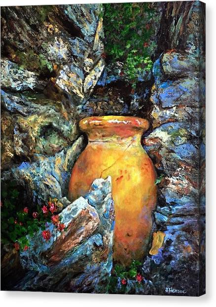 Urn Among The Rocks Canvas Print