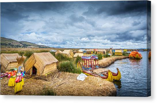 Canvas Print featuring the photograph Uros Life by Gary Gillette