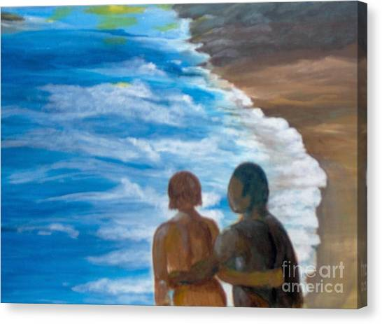 Canvas Print featuring the painting Us Against The World by Saundra Johnson