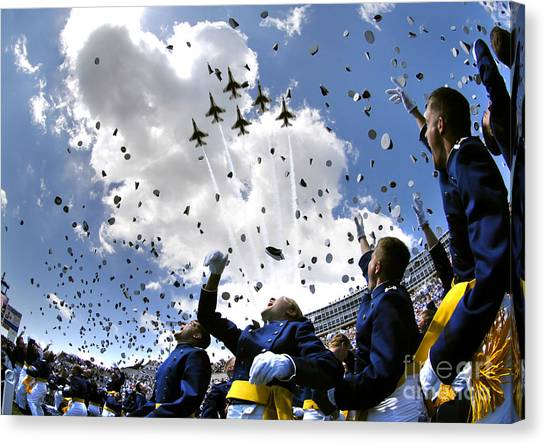 Aircraft Canvas Print - U.s. Air Force Academy Graduates Throw by Stocktrek Images