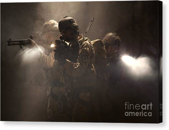 Navy Seal Canvas Print - U.s. Air Force Csar Parajumpers by Tom Weber