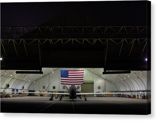 Us Air Force Eq 4 Global Hawk Assigned To The 380th Air Expeditionary Wing Await Routine Maintenance Canvas Print