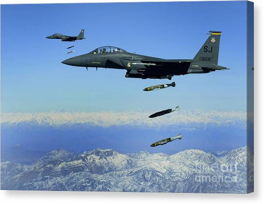 Warheads Canvas Print - U.s. Air Force F-15e Strike Eagle by Stocktrek Images
