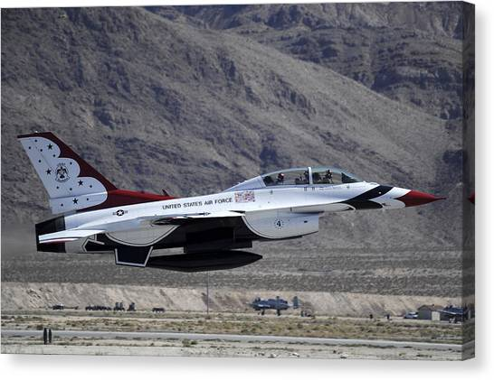 National Guard Canvas Print - U.s. Air Force Thunderbird F-16 by Stocktrek Images