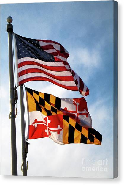 Us And Maryland Flags Canvas Print