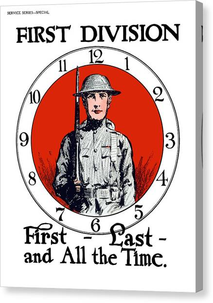 Big Red Canvas Print - Us Army First Division - Ww1 by War Is Hell Store