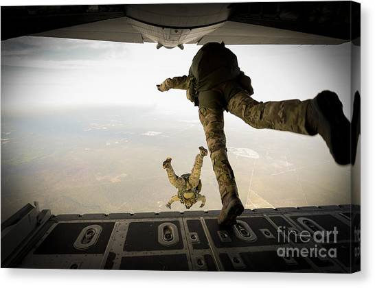 Green Berets Canvas Print - U.s. Army Green Berets Jump by Stocktrek Images