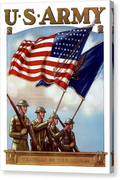 Flag Canvas Print - Us Army -- Guardian Of The Colors by War Is Hell Store