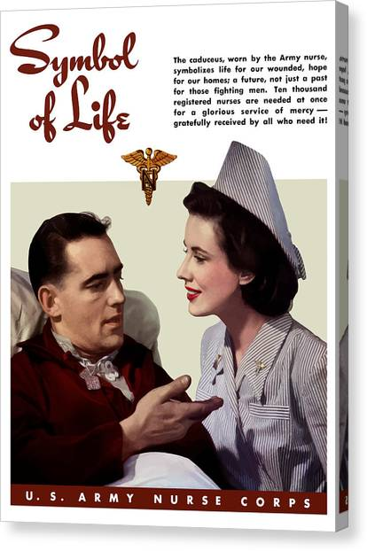 Health Care Canvas Print - Us Army Nurse Corps by War Is Hell Store