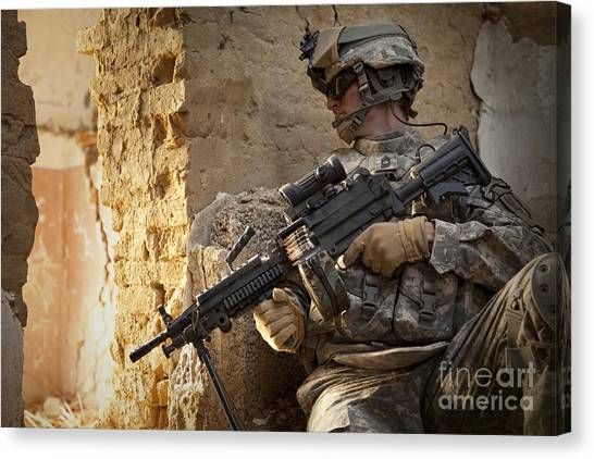 Special Forces Canvas Print - U.s. Army Ranger In Afghanistan Combat by Tom Weber