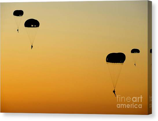 Special Forces Canvas Print - U.s. Army Rangers Parachute by Stocktrek Images