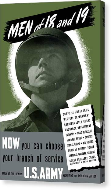 Army Canvas Print - Vintage Us Army Recruiting Poster by War Is Hell Store