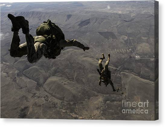 Special Forces Canvas Print - U.s. Army Soldiers Conduct A Halo Jump by Stocktrek Images