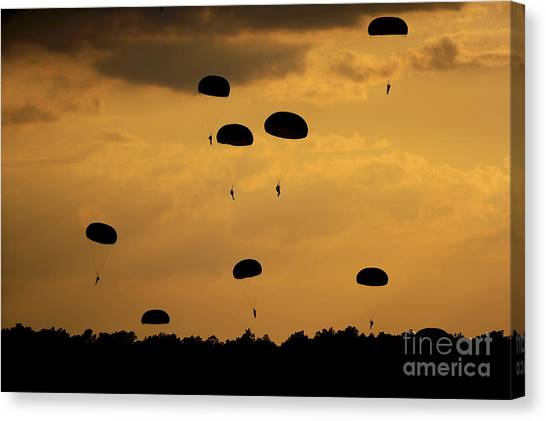 Sunset Horizon Canvas Print - U.s. Army Soldiers Parachute by Stocktrek Images