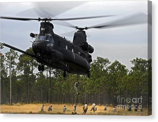 Special Forces Canvas Print - U.s. Army Special Forces Fast Rope by Stocktrek Images