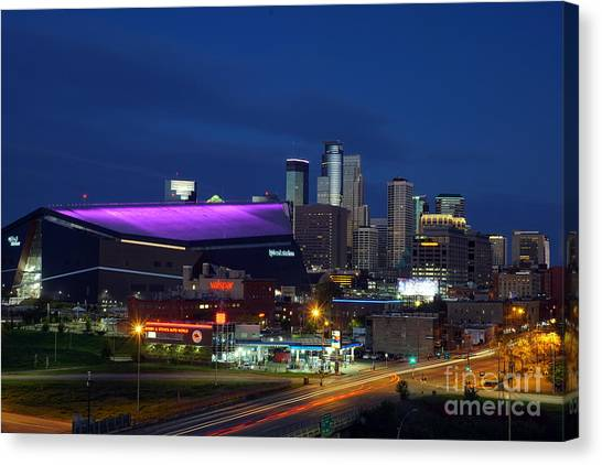 Canvas Print featuring the photograph Us Bank Stadium by Cj Mainor