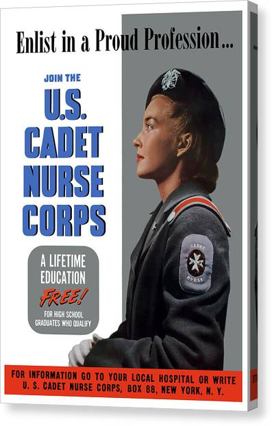 Nursing Canvas Print - Us Cadet Nurse Corps - Ww2 by War Is Hell Store