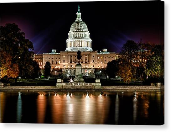 Capitol Building Canvas Print - Us Capitol Building And Reflecting Pool At Fall Night 3 by Val Black Russian Tourchin