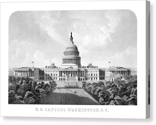 Capitol Building Canvas Print - Us Capitol Building - Washington Dc by War Is Hell Store