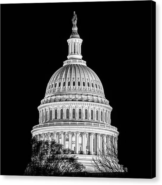 Us Capitol Dome In Black And White Canvas Print