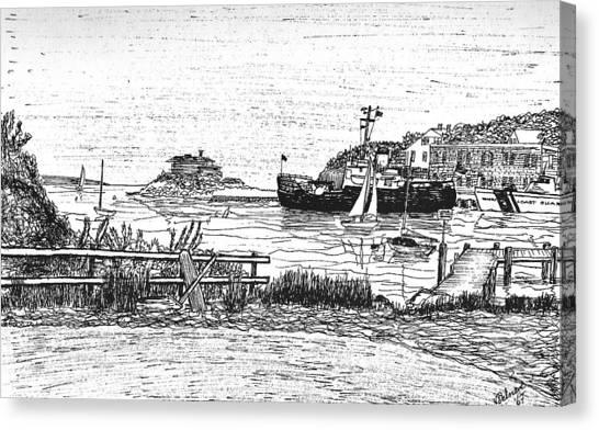 Us Coast Guard Cutter On Little Harbor Canvas Print