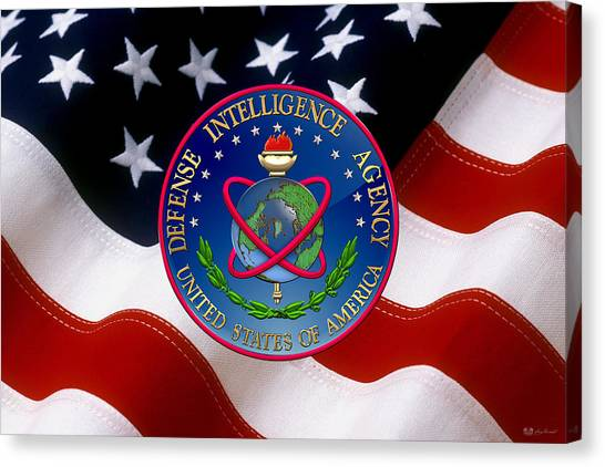 U. S. Defense Intelligence Agency - D I A Emblem Over Flag Canvas Print