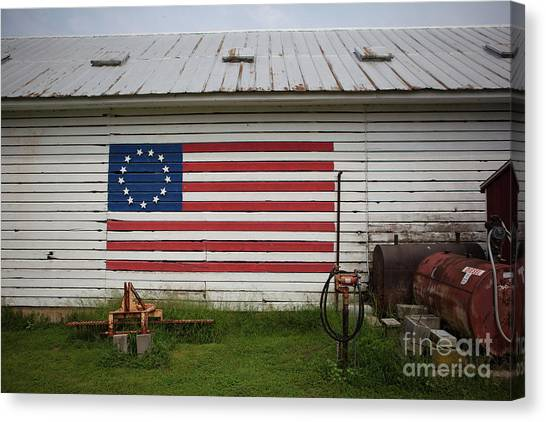 Us Flag Barn Canvas Print