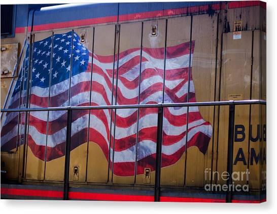 Us Flag On Side Of Freight Engine Canvas Print