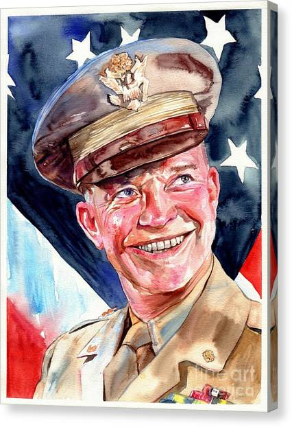 University Of Arkansas University Of Arkansas Canvas Print - Us General Dwight D. Eisenhower by Suzann's Art