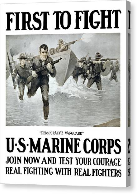 Ww1 Canvas Print - Us Marine Corps - First To Fight  by War Is Hell Store
