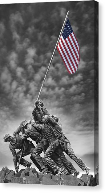 Iwo jima flag raising canvas prints fine art america iwo jima flag raising canvas print us marine corps war memorial by mike mcglothlen publicscrutiny Image collections