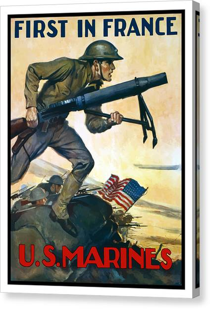 Rifles Canvas Print - Us Marines - First In France by War Is Hell Store