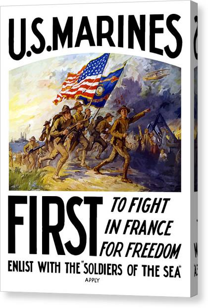 Marines Canvas Print - Us Marines - First To Fight In France by War Is Hell Store