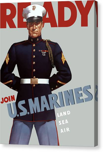 Soldiers Canvas Print - Us Marines - Ready by War Is Hell Store