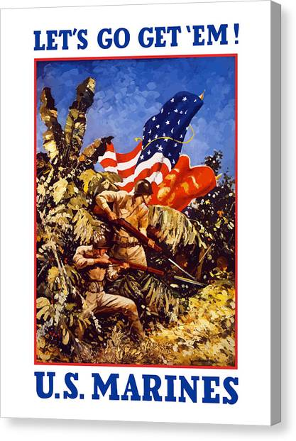 Battle Canvas Print - Us Marines - Ww2  by War Is Hell Store
