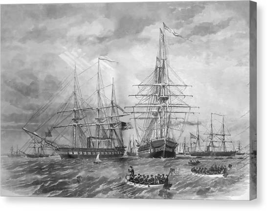 Ships Canvas Print - U.s. Naval Fleet During The Civil War by War Is Hell Store