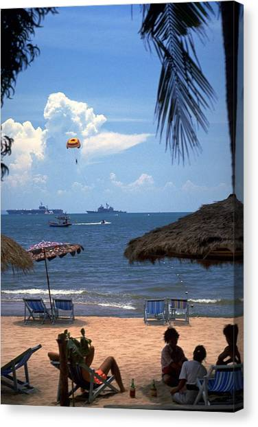 Travelpics Canvas Print - Us Navy Off Pattaya by Travel Pics