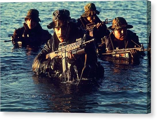 Special Forces Canvas Print - Us Navy Seal Team Emerges From Water by Everett