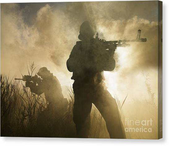 Navy Seal Canvas Print - U.s. Navy Seals During A Combat Scene by Tom Weber