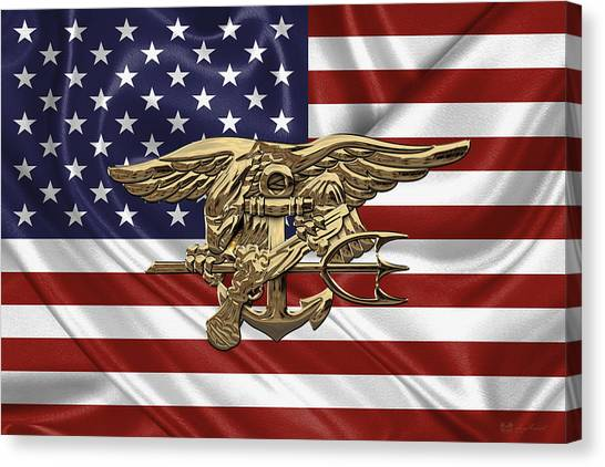 U.s. Navy Seals Trident Over U.s. Flag Canvas Print