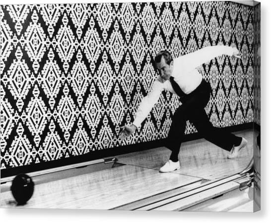 Bowling Alley Canvas Print - U.s. President Richard Nixon, Bowling by Everett