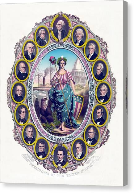 American Politician Canvas Print - Us Presidents And Lady Liberty  by War Is Hell Store
